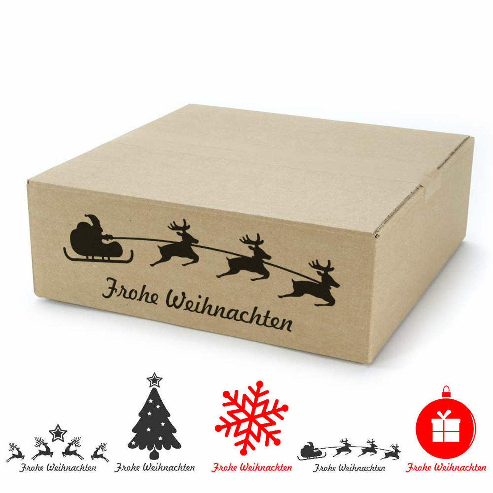 300x300x100 Mm Single Wall Cardboard Boxes With A Christmas Motif At