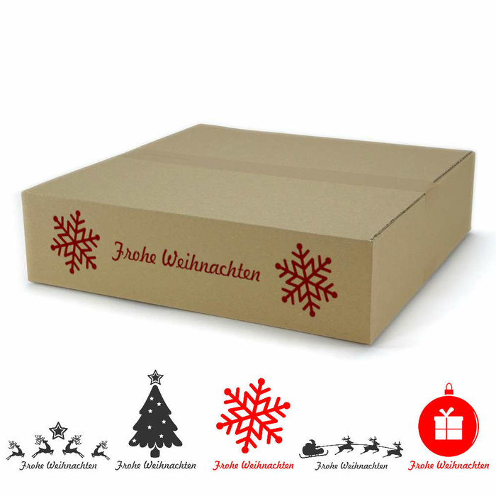 400x400x100 Mm Single Wall Cardboard Boxes With Christmas Motif At