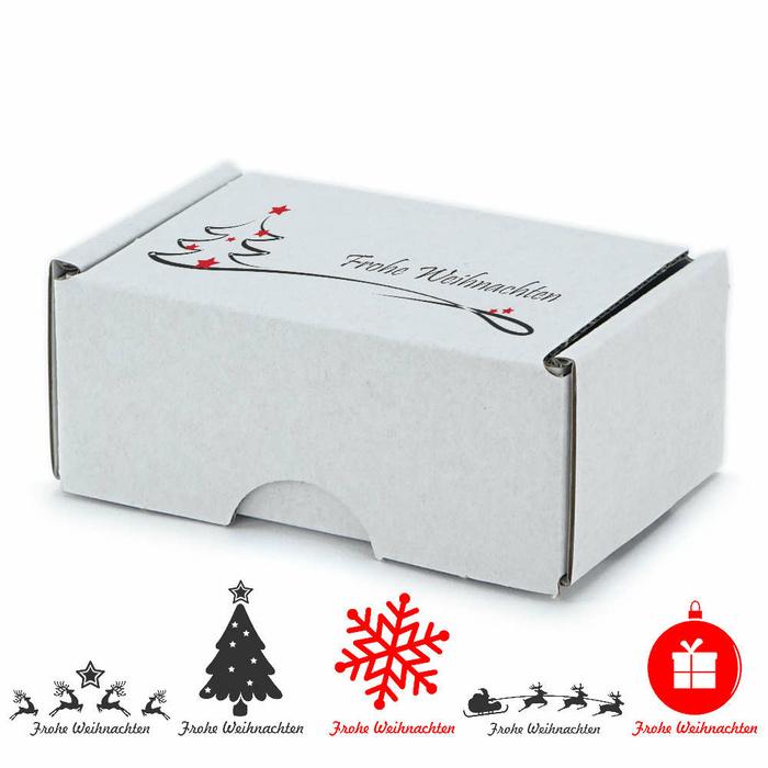 90x60x40 Mm Visitenkarten Schachtel Weiß Mit Weihnachtsmotiv