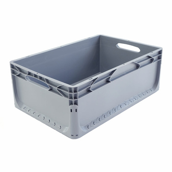 600x400x220 mm Eurobox Grey Closed, Handles Open