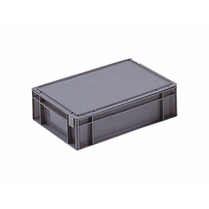400x300x129 mm Eurobox With Hinged Lid, Content 10 L, Colour Grey