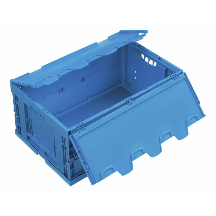 600x400x260 mm Polypropylene Folding Box, With Hinged Lid, Colour Blue