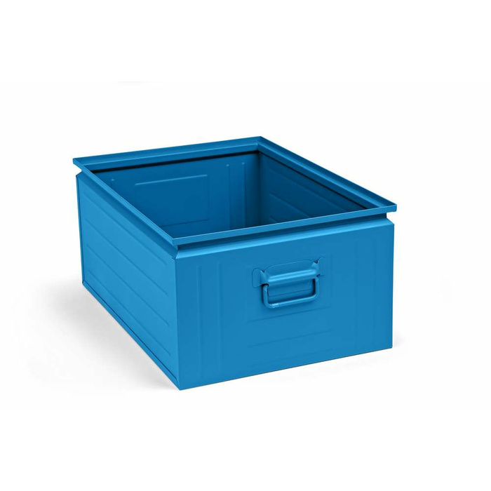 630x450x300 mm Stacking Box Made Of Sheet Steel, Capacity Approx. 80 l, Light Blue RAL 5012