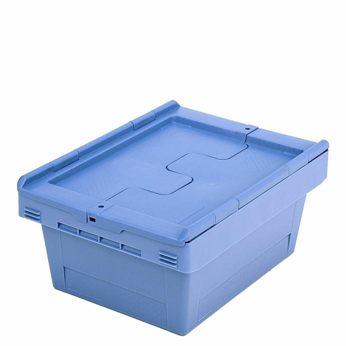 380x300x190 mm Reusable Stacking Containers With Hinged Lid, Content 16 L, Colour Blue