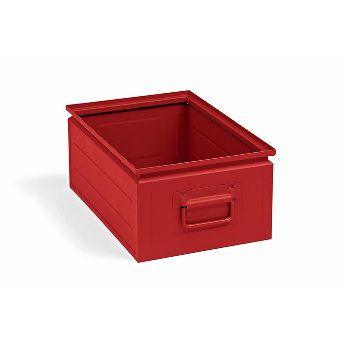 450x300x200 mm Stacking Box Made Of Sheet Steel, Capacity Approx. 25 l, Fiery Red RAL 3000