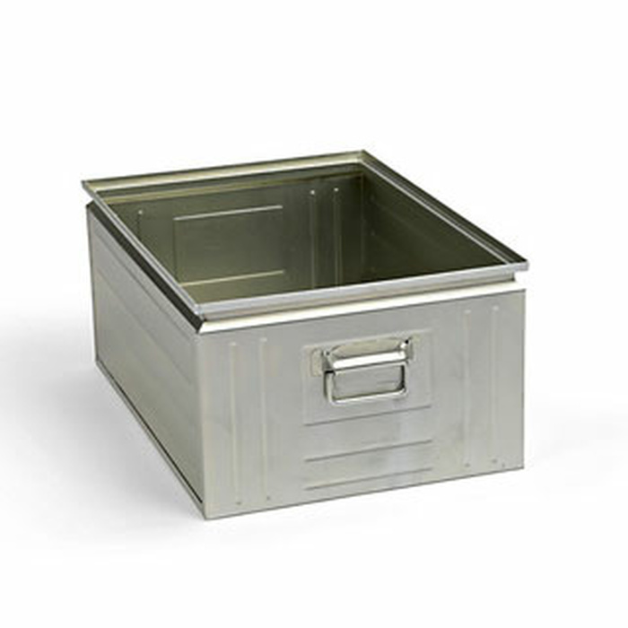 630x450x300 mm Stacking Box Made Of Sheet Steel, Capacity Approx. 80 l, Galvanized