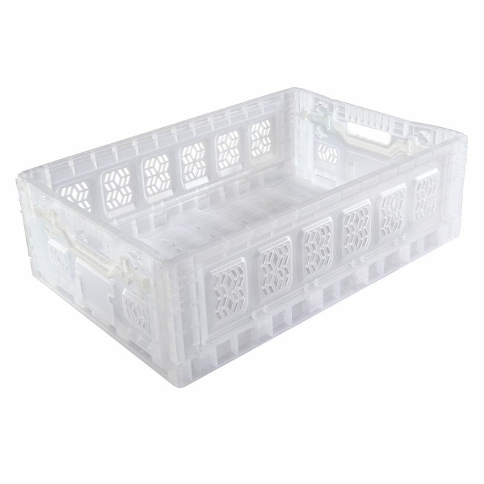 600x400x230 mm Folding Box Transparent With Active Closure Open-Work, Handles Open