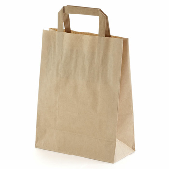 250 Paper Bags With Handles 220x100x280 mm, Brown