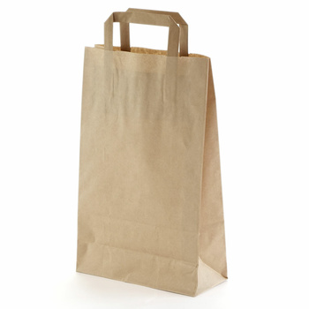 250 Paper Bags With Handles 220x100x360 mm, Brown