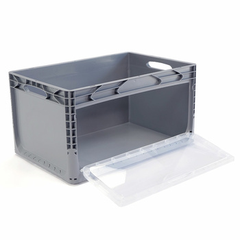 600x400x320 mm Eurobox Grey Closed, Handles Open With...