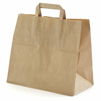 250 Paper Bags With Handles 180x80x220 mm, Brown