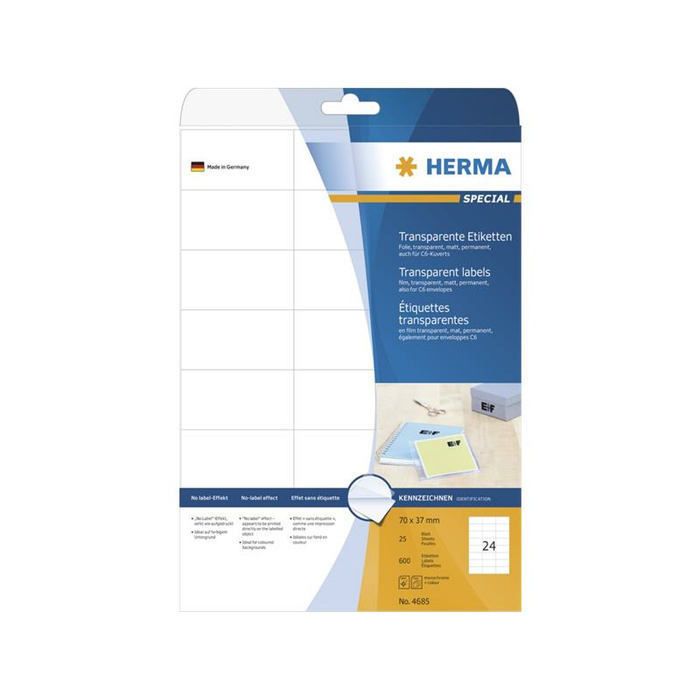 HERMA Etiketten transparent matt A4 70x37 mm Folie 600 St.