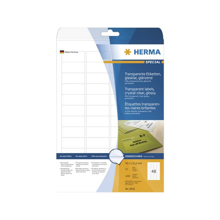 HERMA Etiketten transparent glasklar A4 45,7x21,2 mm transparent klar Folie glänzend 1200 St.