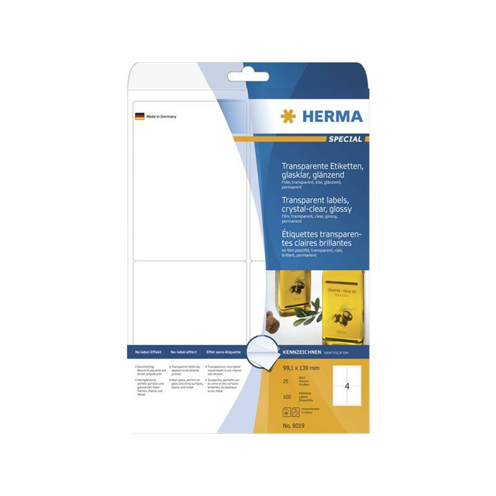 HERMA Etiketten transparent glasklar A4 99,1x139 mm transparent klar Folie glänzend 100 St.