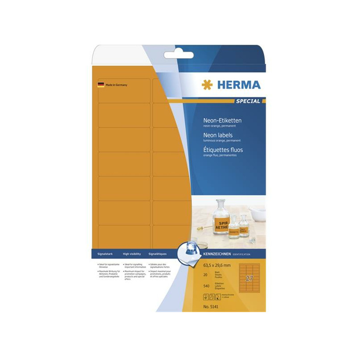 HERMA Etiketten A4 neon-orange 63,5x29,6 mm Papier matt 540 St.