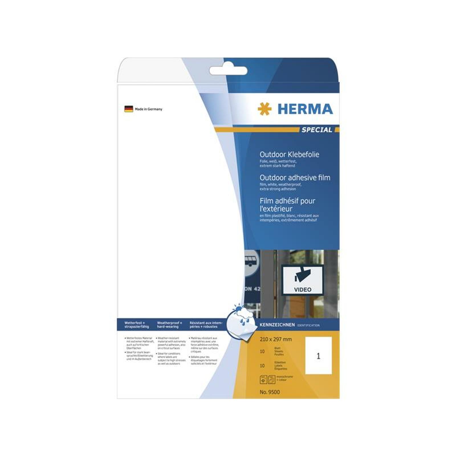 herma etiketten a4 outdoor klebefolie wei 210x297 mm. Black Bedroom Furniture Sets. Home Design Ideas