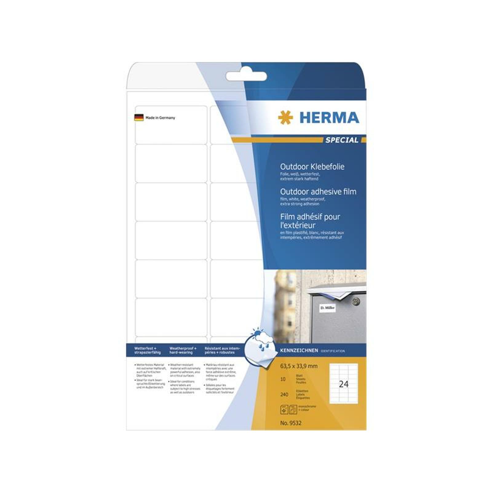 Herma etiketten a4 outdoor klebefolie wei 63 5x33 9 mm for Klebefolie abwaschbar